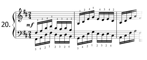 Piano technique exercise N°20 in D