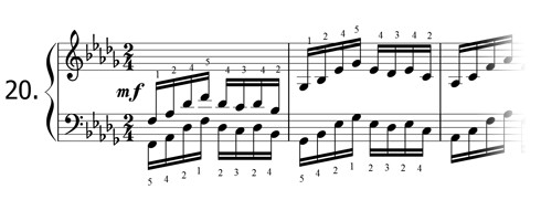 Piano technique exercise N°20 in Db
