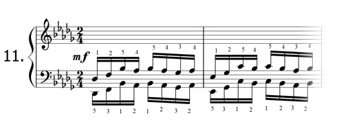 Piano technique exercise N°11 in Db