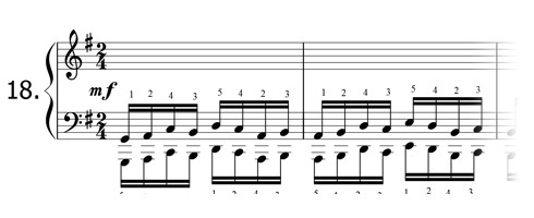 Piano technique exercise N°18 in G