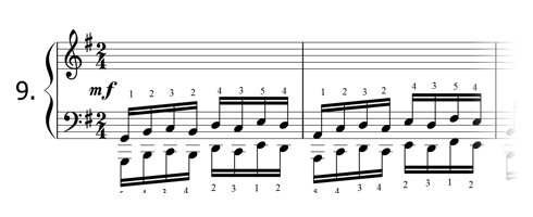 Piano technique exercise N°9 in G