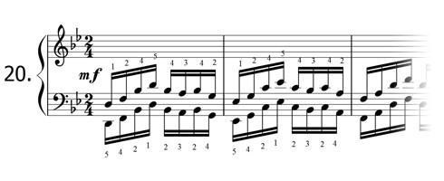 Piano technique exercise N°20 in Bb
