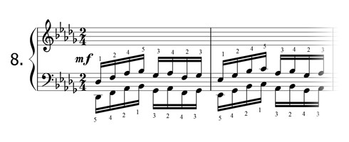 Piano technique exercise N°8 in Db