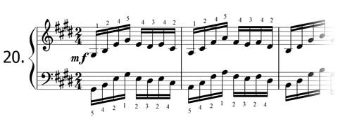 Piano technique exercise N°20 in E