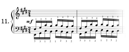 Piano technique exercise N°11 in E