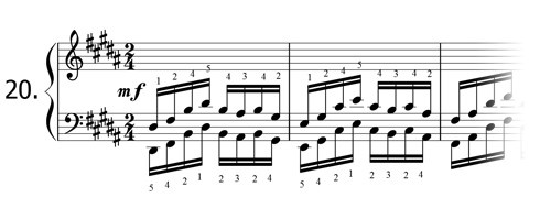 Piano technique exercise N°20 in B