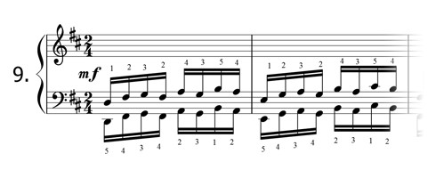 Piano technique exercise N°9 in D