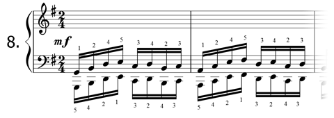 Piano technique exercise N°8 in G