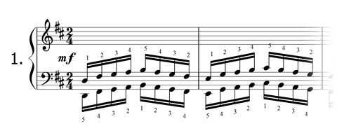 Piano technique exercise N°1 in D
