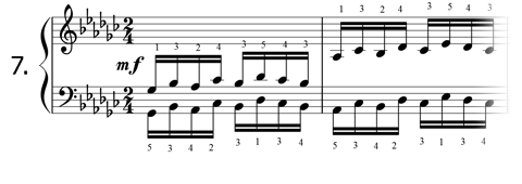 Piano technique exercise N°7 in Gb