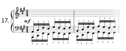 Piano technique exercise N°17 in A