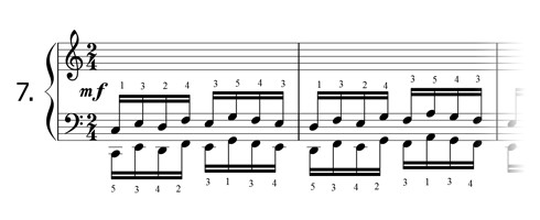 Piano technique exercise N°7 in C