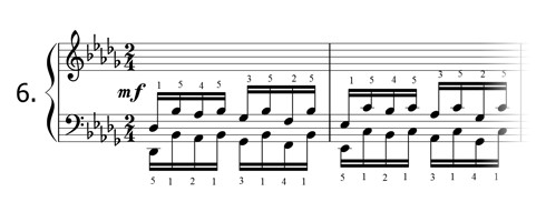 Piano technique exercise N°6 in Db