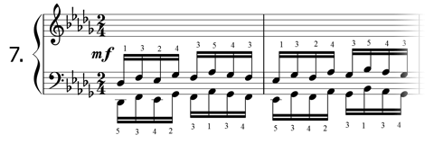 Piano technique exercise N°7 in Db