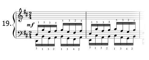 Piano technique exercise N°19 in D