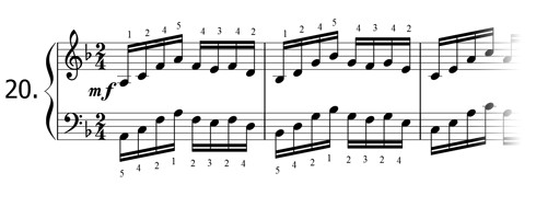 Piano technique exercise N°20 in F