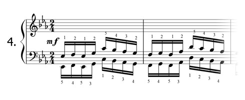 Piano technique exercise N°4 in Eb