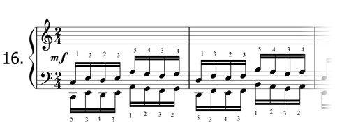 Piano technique exercise N°16 in C