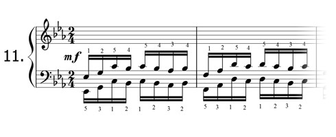 Piano technique exercise N°11 in Eb