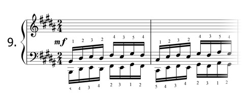 Piano technique exercise N°9 in B
