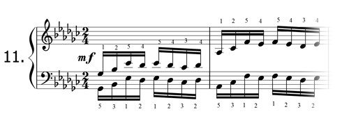 Piano technique exercise N°11 in Gb