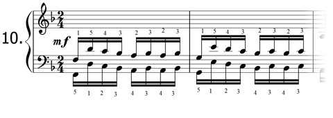 Piano technique exercise N°10 in F