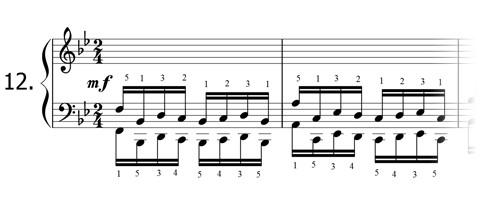 Piano technique exercise N°12 in Bb