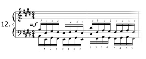 Piano technique exercise N°12 in E