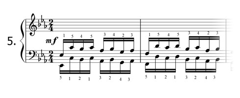 Piano technique exercise N°5 in Eb