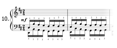 Piano technique exercise N°10 in D