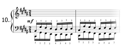 Piano technique exercise N°10 in B