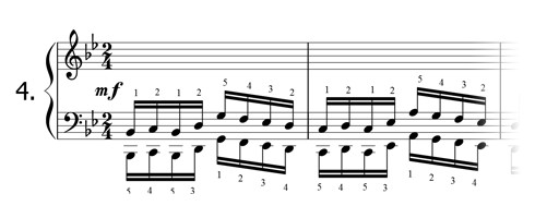 Piano technique exercise N°4 in Bb