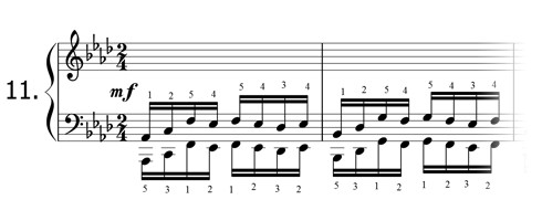 Piano technique exercise N°11 in Ab