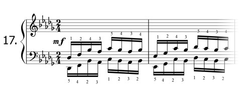 Piano technique exercise N°17 in Db