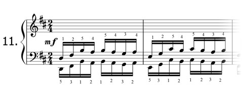 Piano technique exercise N°11 in D