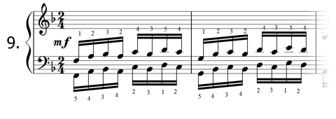 Piano technique exercise N°9 in F