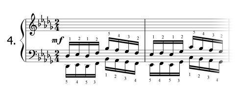 Piano technique exercise N°4 in Db