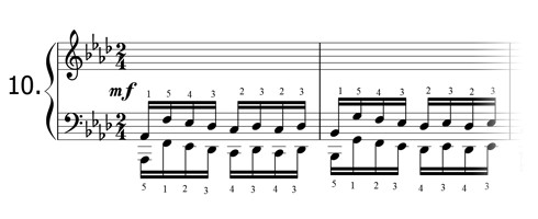 Piano technique exercise N°10 in Ab