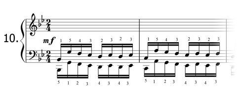 Piano technique exercise N°10 in Bb