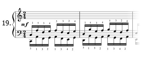 Piano technique exercise N°19 in C