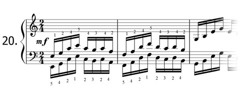 Piano technique exercise N°20 in C