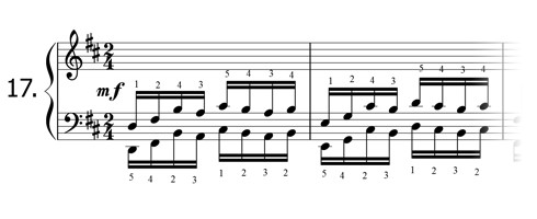 Piano technique exercise N°17 in D