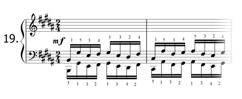 Piano technique exercise N°19 in B
