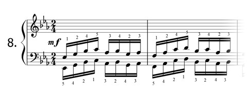 Piano technique exercise N°8 in Eb