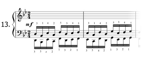 Piano technique exercise N°13 in Bb