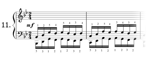 Piano technique exercise N°11 in Bb