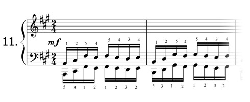 Piano technique exercise N°11 in A