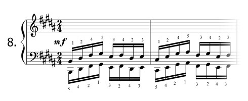 Piano technique exercise N°8 in B