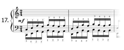 Piano technique exercise N°17 in C