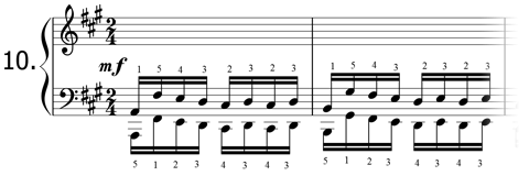 Piano technique exercise N°10 in A